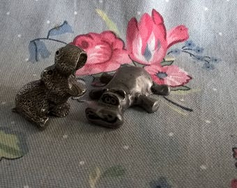 Vintage Pewter HUNGRY HIPPOS Miniatures