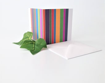 Original Graphic Design Notecard For Any Occasion - Multicolour Stripes Notecard To Say Hello - Blank Inside - Any Occasion - Colourful Card