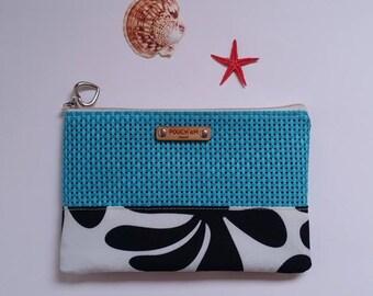 FREE shipping! (U.S. only!) POUCH'eM HAWAII Splash proof Stylish Blue Zippered Pouch/Clutch