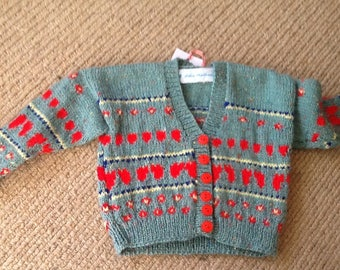 Hand knitted Italien design cardigan for 6 mnth - 1 yr