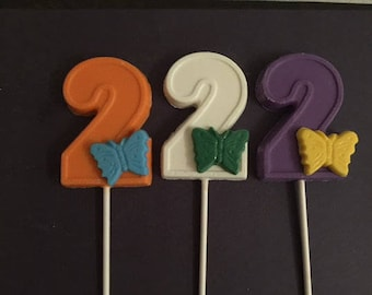 NUMBER TWO BUTTERFLY Chocolate Lollipop (12 qty) - Birthday Party/Party Favors/Butterflies/2nd Birthday/Girl's Birthday Party
