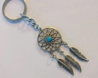 Turquoise Dreamcatcher Silver Keychain