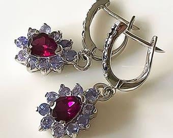 Tanzanite Sapphire Rhodolite Garnet Gem Earrings Sterling Silver 14kt White Gold