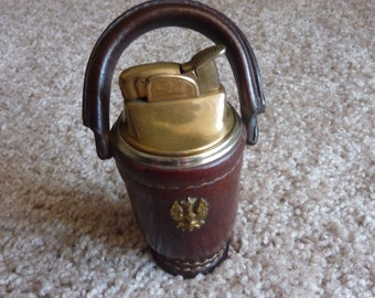 Vintage Evans Brass and Leather Bucket Table Lighter