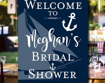 Bridal Shower Welcome Sign Printable - Welcome Bride To Be Sign - Navy and White Nautical Sailboat Anchor Sign- 16x20 - 8x10 - 0001-N2