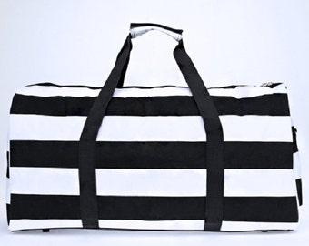 Black and White striped duffle bag
