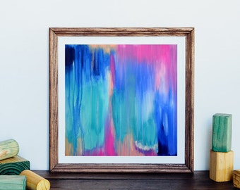 Abstract art print, abstract print, modern art abstract, minimalist painting, from original abstract painting, aqua, green, digital download