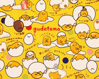"""Gudetama Lazy Egg Sanrio Character Fabric made in Japan FQ 45cm by 53cm or 18"""" by 21"""""""
