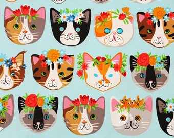 Cat Cotton Fabric Whiskers & Tails by Robert Kaufman Fabric by the Half Yard