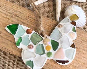 Pretty sea glass 'butterfly' hanger handmade in Cornwall