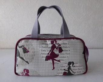 Toiletry bag, vanity, jacquard print fabric and leatherette dragon grey, retro, trendy