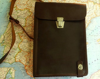 Leather messenger bag for men brown leather mens crossbody bag army soviet army bag briefcase 1972 USSR new unused