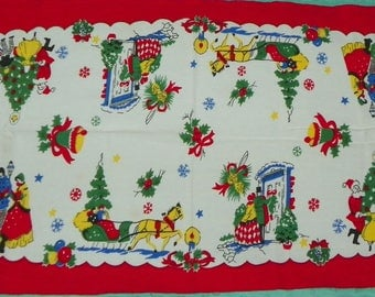 Vintage Christmas Table Runner with Carolers Santa Children Snowflakes Presents