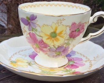 Pretty in Pink-Plant Tuscan Bone China Teacup and Saucer