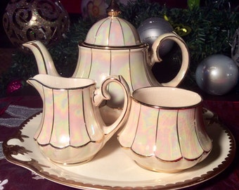 Pretty in Pink-Sadler Iridescent Bell Shaped Teapot Creamer and Sugar England