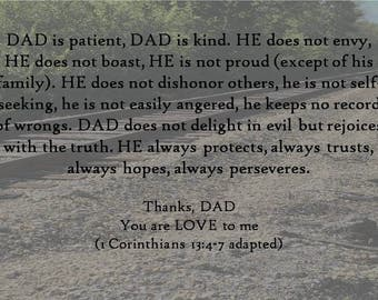 Father's Day Digital Photo Print, Downloadable Father's Day Scripture, Biblical Dad Digital Download, Wall Art for Christian Father's Day