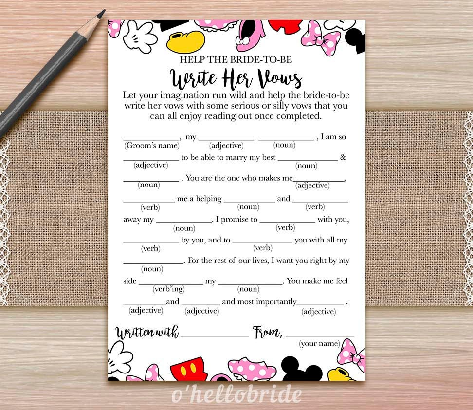 Help The Bride To Be Write Her Vows Game Guess Wedding Vows