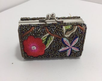 Vintage Beaded Silver Coin Change Purse With Clasp