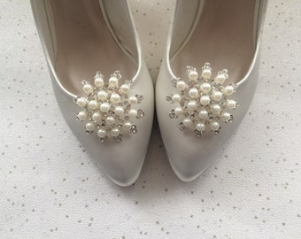 Shoe Clips Diamante - Crystal - Pearl Bridal Winter Wedding - Goodwood