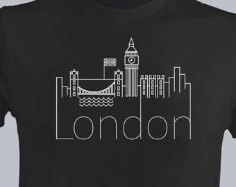 London Men New T-shirt VINYL Print UK Homies The Old English City I'd Rather Be In Big Ben London Eye Cool Tee