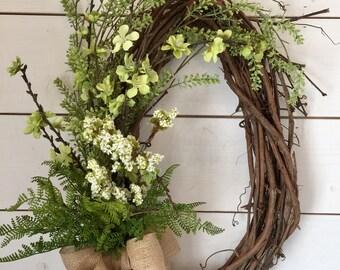 Spring wreath, summer wreath, summer door wreath, greenery wreath, oval wreath, large wreath, grapevine wreath, farmhouse decor, gift