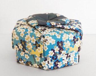 SENITA Paper Flower Keepsake Box, Blue and Gold Chiyogami Gift Box – Handmade Jewelry Box, Paper Treasure Box, Modular Origami Hexagon Box