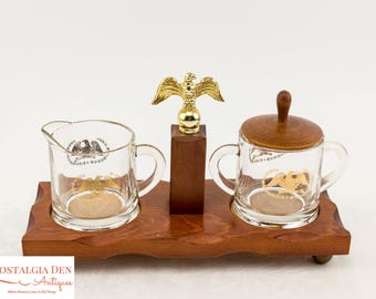 Vintage Creamer and Sugar Set on Wooden Tray   Clear Glass with Gold Federal Eagle