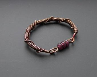 Copper bracelet, wire jewelry, purple bracelet, copper bangle, wire wrapped jewelry, wire wrap, lampwork bracelet, copper jewellery, boho