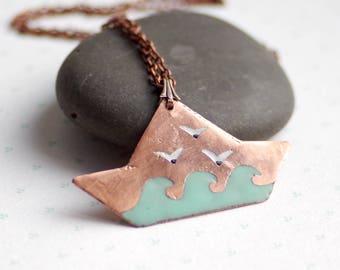 Sea jewelry, enamel jewelry, romantic ship pendant, copper ship, gift for her
