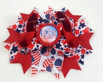 USA Hair Bow -Hair Accessories/Little Girl Hair Bow/Toddler Hair Bow/Tween Hair Bows /Accessory/Red White Blue/July 4th/Stack Hair Bow