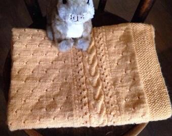 Knitted baby blanket Handmade blanket Baby blanket Newborn blanket Wool baby blanket Yellow knit blanket Crochet baby blanket Baby bedding