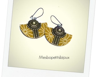 great earring an assembly of japanese fabric metal yellow