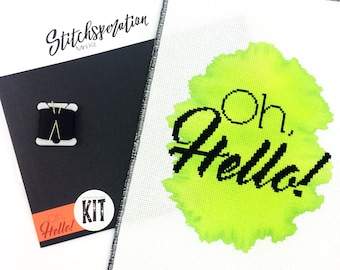 Oh Hello - Modern Cross Stitch Kit - Mini Cross Stitch Kit - Hand Painted Fabric - Needlepoint Kit - DIY Kit - Embroidery Kit