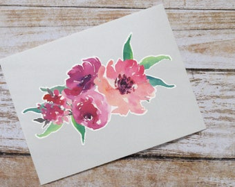 Clearance - Peony Watercolor Monogram Decal, Watercolor Flowers, Flower Sticker, Tumbler Decal, Watercolor Peonies, Printed Decal