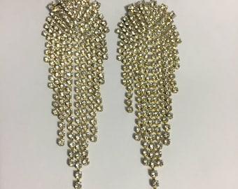 Rhinestones Earrings - Stud Earrings - Bridal Jewelry - Gold Tone - Dangle