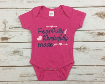 Newborn Girl Clothes - Baby Girl Bodysuit - New Baby Gift- Fearfully and Wonderfully Made