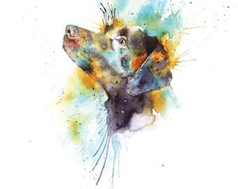 Chocolate Labrador Art Print, Dog Illustration, Labrador, Chocolate Labrador Print, Dog Wall Art, Watercolour Dog Print, Digital Dog Print