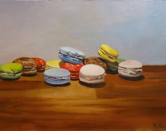 12 macaroons, Original Oil painting by Anne Zamo