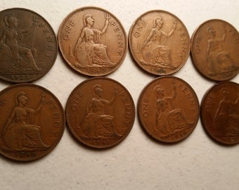 8 great britain big penny vintage coins 1928 - 1949 coin lot pennies  - world foreign collector money numismatic a27