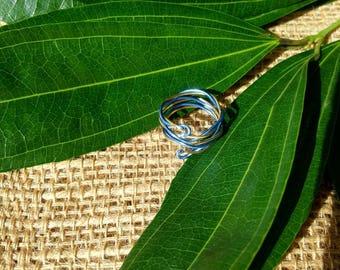 Blue gold twist ring - gold twist ring - blue twist ring