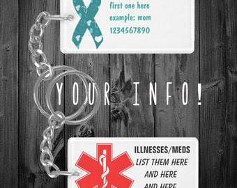 Emergency Contact/Illness/Meds Keychain *