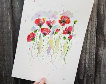 Poppies original watercolour painting. A3.