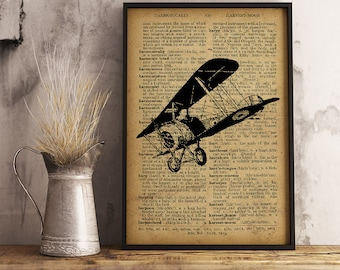 Airplane Aircraft Aviation Dictionary Art Print, Printable retro drawing vintage, Cotton canvas Airplane Print, Aviator Gift  (A01)