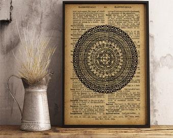 Boho style decor, Abstract Mandala Print, Spiritual wall art,  Abstract Boho style print (MA36)