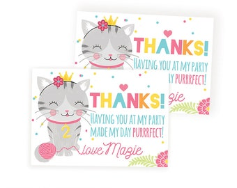 Kitty Thank You Tag, Cat Party Favor, Kitty Party Favor, Printable Kitty Thank You Tag