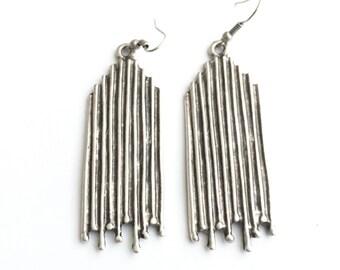Bohemian Branch Twigs Statement Earrings, Bohemian Jewelry, Boho Jewelry, Boho Earrings, Large Earrings, Silver Earrings, Boho, Bohemian