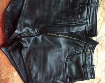 Vintage Women's Leather Biker Shorts Size 26 Size 4