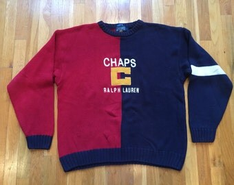 Chaps Ralph Lauren sweater size L handframe red navy two tone cut n sew