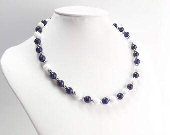 Exclusive gemstone chain necklace lapis lazuli of white jade stainless steel design