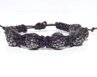 Shamballa Fimo rhinestone macrame bracelet handmade Yoga Buddha meditating